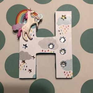 Handcrafted unicorn wooden letter H